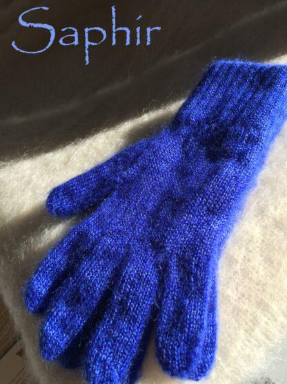 Gants en mohair bleu saphir
