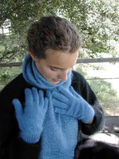 Gants en mohair bleu