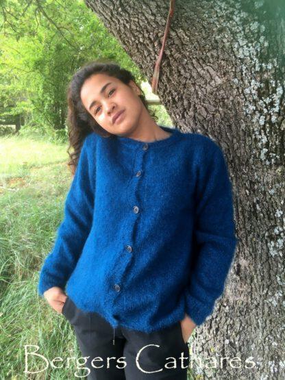Gilet mohair et soie à tricoter