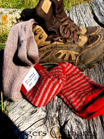 Chaussettes en mohair rayé rouge