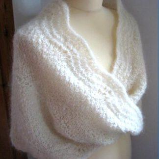 Etole écharpe chale mohair soie de France tricoté main