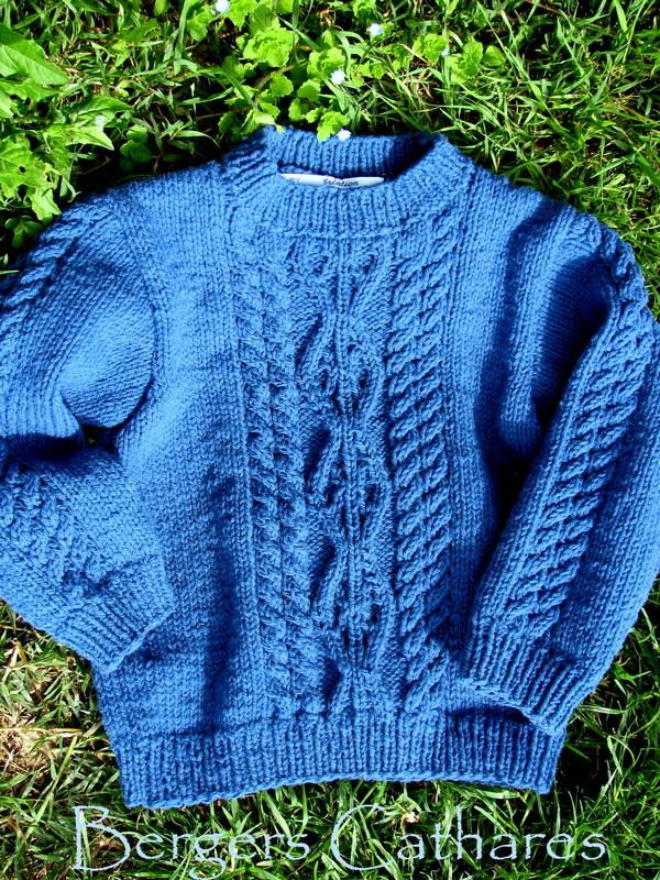 pull enfant irlandais en pure laine