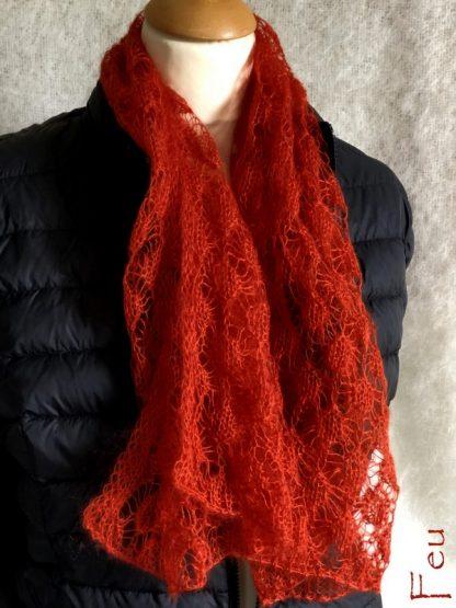 écharte tricotée en mohair et soie