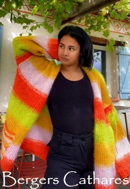 Veste tricotée en mohair et soie