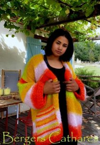 veste tricotée à la main en mohair